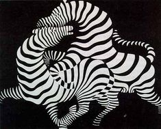Victor Vasarely was a Hungarian-born artist and preeminent painter of complex geometric patterns. He is best known as a founder of Op Art movement. Victor Vasarely, Josef Albers, Zebra Kunst, Zebra Art, Famous Abstract Artists, Famous Artists, Abstract Paintings, Oil Paintings, Willem De Kooning