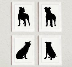 Pitbull Set of 4, Dog Home Decor, Pit bull Silhouette, Ink Painting, Animal Drawing Wall Decor, Dogs Illustration