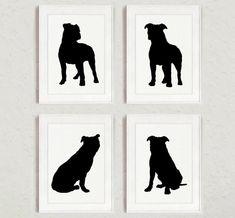 Pitbull Set of 4 Dog Home Decor Pit bull by ColorWatercolor #pitbull #set #black #dog #silhouette