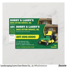 Landscaping Lawn Care Grass Cutting Business Card | 1000 Lawn Care Business Cards, Yard Maintenance, Lawn Mower, Templates, Landscaping, Modern Design, Green Grass, Backyards, Card Ideas