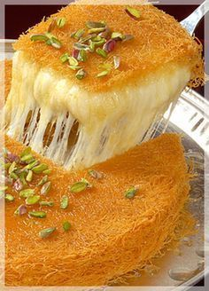 Kunafa is one of the most favored deserts in Ramadan. It's done in all sort of ways, with nuts, cream, honey, etc. Get the recipe here! Arabic Dessert, Arabic Sweets, Arabic Food, Sweet Recipes, Real Food Recipes, Cooking Recipes, Yummy Food, Lebanese Recipes, Turkish Recipes