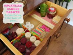 LYH Blog: My Organized Candle Drawer (& How to Wrap a Box in Paper) Organizing, Organization, Love Your Home, Covered Boxes, Drawers, Wraps, Posts, Candles, Paper
