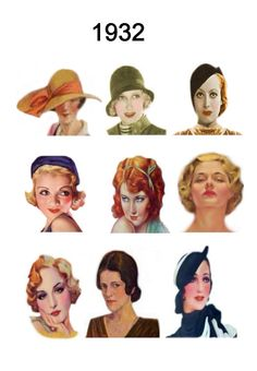 The early1930's female silhouette was feminine.  Although slender it had elegance and was not flat like the boyish lines of the 20s. Curves were back and these 1930's womanly curves were emphasised by the use of bias cut fabrics.  Grooming of the face with now acceptable make up more artfully applied and pencil thin eyebrows together with a sleek upswept hairdo completed the thirties look.