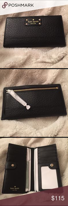 Kate Spade Bay Street Stacy Brand new never used Kate Spade Bay Street Stacy black leather zipper side compartment snap close 12 card holds 1 ID hold 4 separate bill holds. Kate Spade Bags