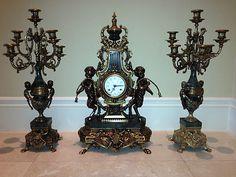 Louis XVI-Style Italian Mantel Clock & Candelabra set by Imperial