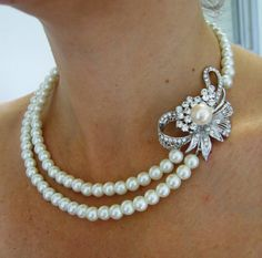 Bridal Necklace Pearly Necklace wedding Necklace by IreneJewelry, $52.00