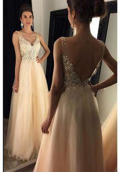 V-neck Beading Applique Long Tulle Prom Dresses Evening Dresses (ED1577)