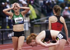 Lauren Fleshman reacts after learning she qualified for the final in the 5000m during the U.S. Olympic Trials at Hayward Field, in Eugene, Ore., June 25, 2012. Thomas Boyd/The Oregonian