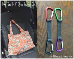 "Keep your bags and belongings from flying on the floor in your car with these Bag ""Seatbelt"" Clips for the Car. They are really easy to make!"