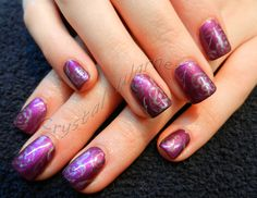 Acrylic nails with handpainted designs