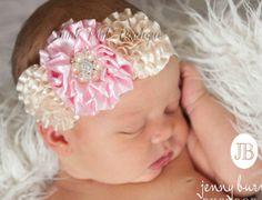 Baby Headband, Baby headbands, Newborn Headband,Easter Headband,Pink Baby Headband,baptism headband,  Christening Ivory baby headband.