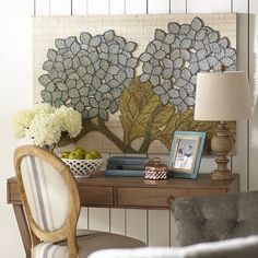 Hang our beautifully woven hydrangea wall panels to instantly add color and texture to your decor. Dyed seagrass forms the beautiful blue flowers and bright green leaves, creating a piece with drama and dimension, perfect for perking up any room.