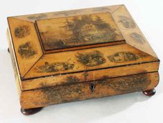 Hygra: Scottish Sewing Box with transfer dececoration Circa 1840.