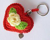 Crochet Heart Keychain, Crochet Heart Keyring, Crochet accessories , Heart Bag Charm, Plush Heart, Valentine Heart