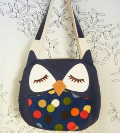 Susie the Owl Navy Polka Dots Applique Canvas Tote Purse by Cuore, $70.00