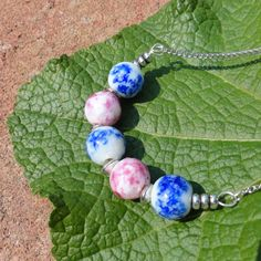 Bubble Gum  Lampwork and Silver on Stainless Steel Necklace by ReasonablyRustic, $24.00