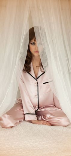 Pink silk pyjamas by Christine Vancouver