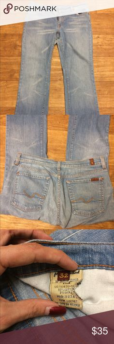 """7 For All Mankind Milan Jeans These may be the Milan Crease, not totally sure! - Bootcut, light wash - Size 32 - 28"""" inseam  *PRICE FIRM* 7 For All Mankind Jeans Boot Cut"""