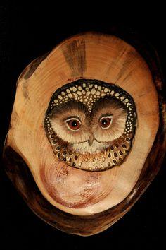 Wood Carved Owl Art. $50.00, via Etsy.