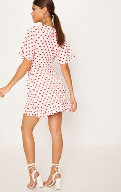 7ffbe0a4d5 Pink Heart Print Frill Wrap Over Tea Dress