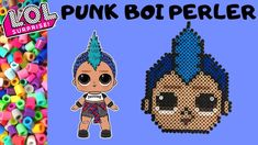 """Today we are making a pattern for L. Surprise Doll """"Punk Boi"""" in perler beads! Perler Bead Ornaments Pattern, Hama Beads Patterns, Perler Bead Art, Beaded Ornaments, Beading Patterns, Pearler Beads, Fuse Beads, Doll Crafts, Kids Crafts"""