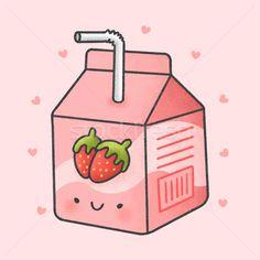 Cute strawberry milk box cartoon hand drawn style vector illustration by Salinee Pimpakun (amaomam) - Stockfresh #10069920 K Wallpaper, Kawaii Wallpaper, Wallpaper Iphone Cute, Cute Wallpapers, Strawberry Drawing, Cute Strawberry, Cute Food Drawings, Cute Animal Drawings Kawaii, Kawaii Doodles