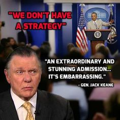 #FoxAndFriends .......  ''The plan is...THERE IS NO PLAN!''...... President Obama tells the world that we don't have a strategy for ISIS. General Jack Keane slamming the admission. What do you think? .... http://www.foxnews.com/on-air/fox-and-friends/blog/2014/08/29/hitting-brakes-obama-downplays-prospect-imminent-strikes-syria