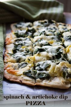 Spinach and Artichoke Dip Pizza. homemade pizza crust topped with cream cheese, sauteed spinach, and artichokes Pizza Recipes, Vegetarian Recipes, Cooking Recipes, Healthy Recipes, Potato Recipes, Vegetable Recipes, Bread Recipes, Dinner Recipes, Pasta Pizza