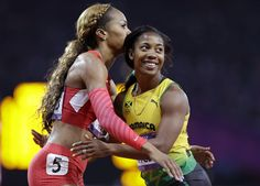 Jamaica's Shelly-Ann Fraser-Pryce embraces United States' Sanya Richards-Ross after their women's 200-meter semifinal.