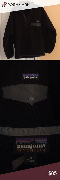 Men's Patagonia Synchilla Men's gently used synchilla. Some lint and fuzz in the jacket because it accidentally got washed with a towel- but it's nothing a lint roller or a fabric razor wouldn't take care of!  Black with grey pocket flap Patagonia Jackets & Coats