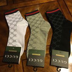 Gucci Men's Socks Pack of 3 Black White Gray One Size GG Pattern | eBay