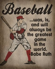 Vintage Baseball Art Print - Kids Baseball Room Decor - Babe Ruth Quote. $12.00, via
