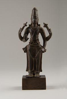 Standing Vishnu Period: Pallava or early Chola period (880–1279) Date: 9th century Culture: India (Tamil Nadu) Medium: Copper alloy Dimensions: H. 5 3/4 in. (14.6 cm); W. 2 13/16 in. (7.1 cm); D. 1 1/8 in. (2.9 cm) Classification: Metalwork Credit Line: Samuel Eilenberg Collection, Gift of Samuel Eilenberg, 1987 Accession Number: 1987.142.68