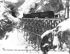 First passenger train of the White Pass & Yukon Railroad en route to the summit, Alaska