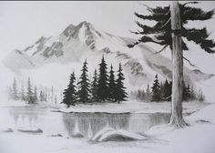 Contoh Lukisan Pemandangan Yang Mudah Ditiru - Pensil