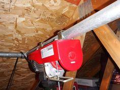 Garage/loft hoist Garage Attic Electric Hoist : 7 Steps (with Pictures) - Instructables Teenage Risk Garage Hoist, Garage Roof, Garage Attic, Diy Garage, Attic Organization, Attic Storage, Organization Ideas, Attic Spaces, Attic Rooms