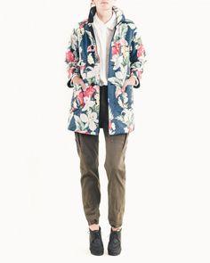 Interesting..... Engineered Garments FWK Reversible Bal Coat in Hawaiian/Dark Navy Flannel