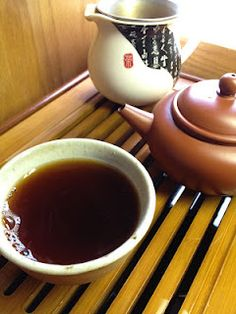 Gong fu cha - tea time with Puer - I have 3 of these little teapots I purchased in Taiwan - they are so sweet.