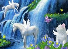 Cat-kitten-fairy-pegasus-horse-waterfall-fantasy-original-aceo-painting-art