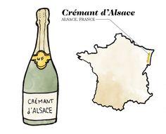 Crémant d'Alsace Wine Illustration