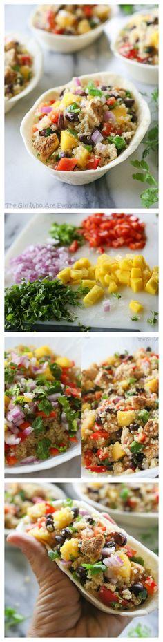 Mango Black Bean Chicken Quinoa Bowls - light, healthy, and full of fresh veggies.