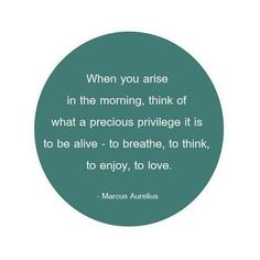 When you arise in the morning, think of what a precious privilege it is to be alive -- to breathe, to think, to enjoy, to love.