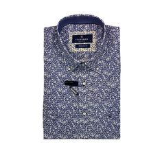 Navy casual shirt with floral pattern, regular fit, button down Button Down Collar, Button Downs, Button Down Shirt, Skinny Fit, Casual Shirts, Buttons, Navy, Floral, Sleeves