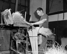 In late 1953, W.E. Hurt fed the correct amount of corn per handle in the first step of making a broom for the Richmond Broom Co. at 22nd and Main streets. The company began operations in 1900 and had become the biggest broom manufacturer in the South, producing about 500,000 a year. Its brooms were made with broomcorn, a sorghum grass with strong stems.