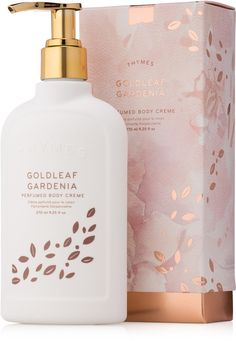 Thymes Goldleaf Gardenia Perfumed Body Creme A modern, yet timeless blend of blooms; Thymes Goldleaf Gardenia is a delicate, dewy, floral fragrance brings your unabashed femininity to life. Skincare Packaging, Perfume Packaging, Soap Packaging, Beauty Packaging, Cosmetic Packaging, Perfume Glamour, Perfume Hermes, Creme, Gardenia Perfume