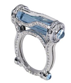 18K white gold ring, Kryptonite style, by Robert Procop, caged cylinder and round cabochon aquamarine and diamonds