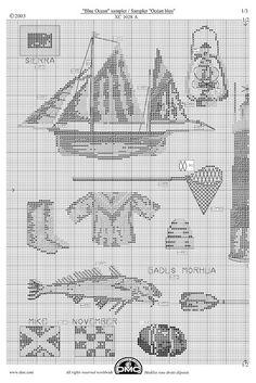 2- mer - sea (voir grilles sur cette page 1&3 ) - point de croix - cross stitch - Blog : http://broderiemimie44.canalblog.com/