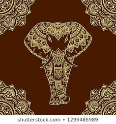 Seamless decorative ornament in ethnic oriental style. Circular pattern in form of mandala and African elephant for Henna, Mehndi, tattoo, decoration. Henna Drawings, Art Drawings, Greek Design, Celtic Patterns, Indian Art Paintings, Dot Art Painting, Circular Pattern, Animal Totems, Indian Summer