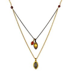 Satya Jewelry Light My Fire Necklace. Taj - Passion, Love, Carnelian - stability, vitality, balance. Chain metal and pendants in gold, gunmetal and carnelian.   $159