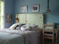 redecorated girls bedroom - love the headboard